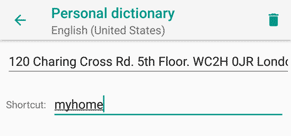 defining personal dictionary shortcut